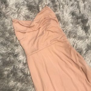 Nude cowl neck dress with slit